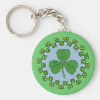 Shamrock and Knotwork Basic Round Button Key Ring