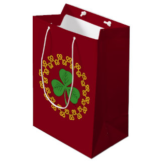 Shamrock and Knotwork on Red Medium Gift Bag