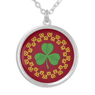 Shamrock and Knotwork on Red Round Pendant Necklace