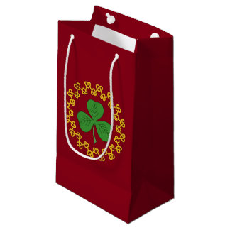 Shamrock and Knotwork on Red Small Gift Bag
