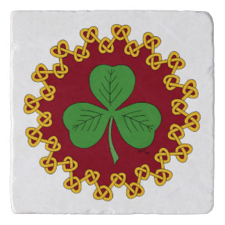 Shamrock and Knotwork on Red Trivet