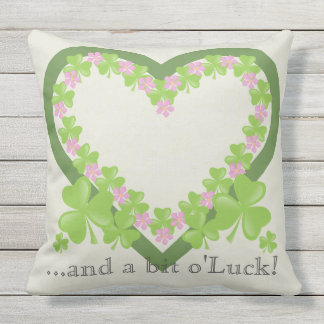 Shamrock and Pink Flower Wreath Heart and Home Outdoor Cushion