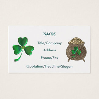Shamrock and pot of gold Business Card Template