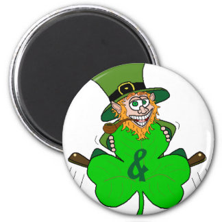 Shamrock and Roll 6 Cm Round Magnet