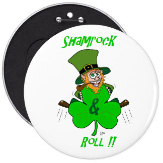 Shamrock and Roll Pinback Button