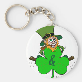 Shamrock and Roll Basic Round Button Key Ring