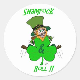 Shamrock and Roll Round Sticker