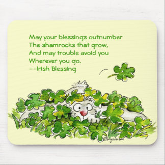 Shamrock Blessing St. Patricks Day Mousepads