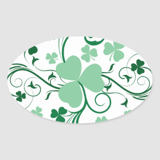 Shamrock blossom oval stickers