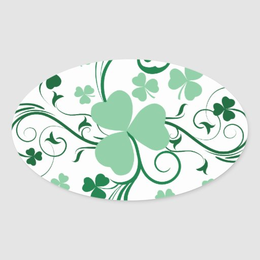 Shamrock blossom oval stickers