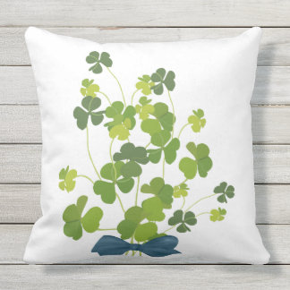 Shamrock bouquet, st patrick's day outdoor cushion