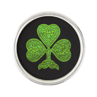 Shamrock Celtic Design Metallc Effect in Green Lapel Pin