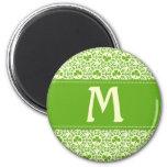 Shamrock Circles Monogram A 6 Cm Round Magnet
