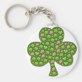 Shamrock Clover Beer St. Patrick's Day, Patty's Basic Round Button Key Ring
