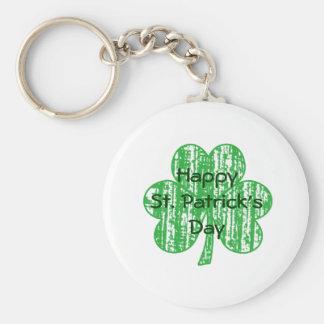 Shamrock Clover Basic Round Button Key Ring