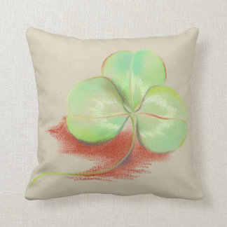 Shamrock Clover Pastel Drawing Cushion