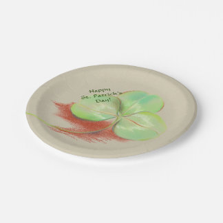 Shamrock Clover Pastel Drawing St. Patrick's Day Paper Plate