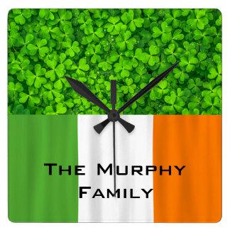 Shamrock Clovers Green Irish Flag Ireland Square Wall Clock