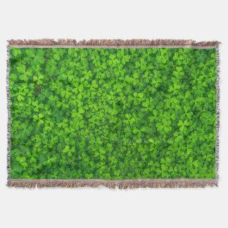 Shamrock Clovers Green Irish Floral Ireland Throw Blanket