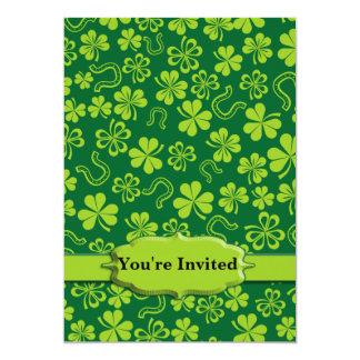 Shamrock Clovers & Horseshoes 13 Cm X 18 Cm Invitation Card