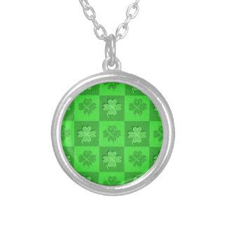 Shamrock Clovers Round Pendant Necklace