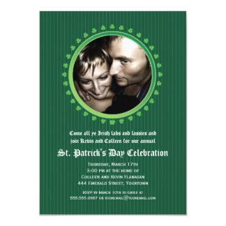 Shamrock Double Porthole St Patricks Day Party Card