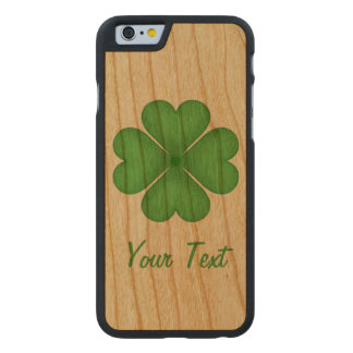 Shamrock Four leaf Clover Hearts Carved® Cherry iPhone 6 Case