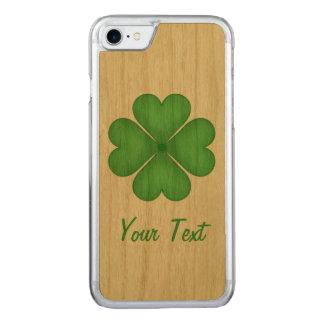Shamrock Four leaf Clover Hearts Carved iPhone 7 Case