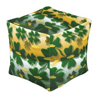 Shamrock Gold Coins Cube Pouffe