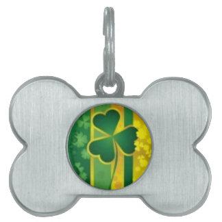 Shamrock Green and Gold Design Pet Tag