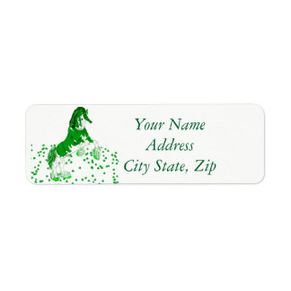 Shamrock Green and White Clydesdale Horse Return Address Label
