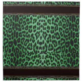 Shamrock Green Leopard with Black and Gold Trim Printed Napkins
