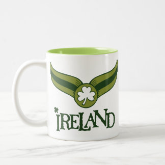 Shamrock Green Snitch with Ireland Name Two-Tone Coffee Mug
