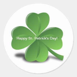 Shamrock Happy St. Patricks Day Holiday Clover Classic Round Sticker