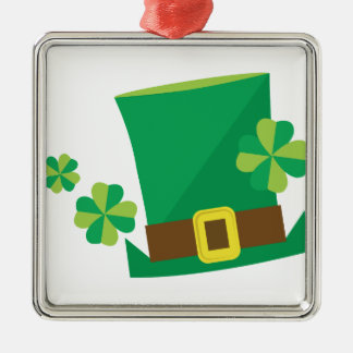 Shamrock Hat Silver-Colored Square Decoration