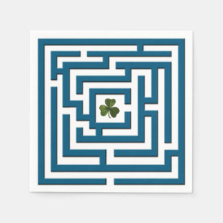 Shamrock in Blue Labyrinth Challenge Paper Napkin