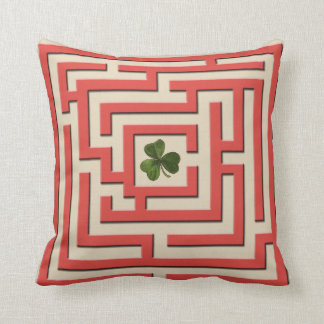 Shamrock in Red Labyrinth Challenge 2 in 1 Throw Pillow