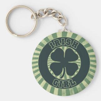 Shamrock Irish Girl Basic Round Button Key Ring
