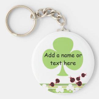 Shamrock Keychain, customizable Basic Round Button Key Ring