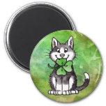 Shamrock Kitty 6 Cm Round Magnet
