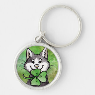 Shamrock Kitty Silver-Colored Round Key Ring
