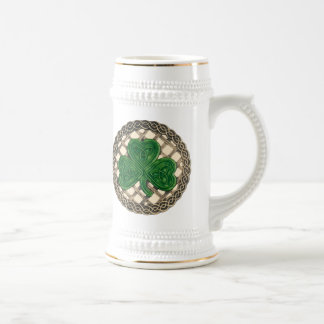 Shamrock, Lattice And Celtic Knots On Beige Mug