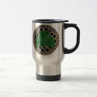 Shamrock, Lattice And Celtic Knots On Black Mug