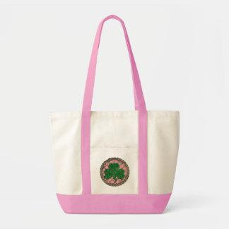 Shamrock, Lattice And Celtic Knots On Pink Bag