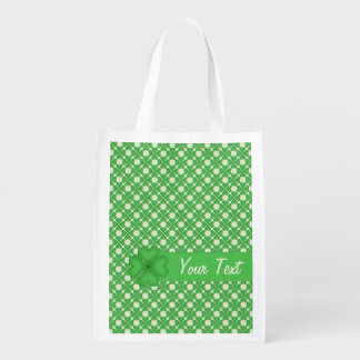 Shamrock leaf Clover Hearts pattern Customizable Grocery Bags