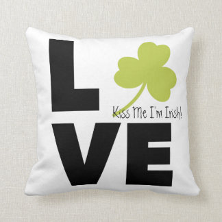 "Shamrock Love ""Kiss Me I'm Irish"" Pillow"