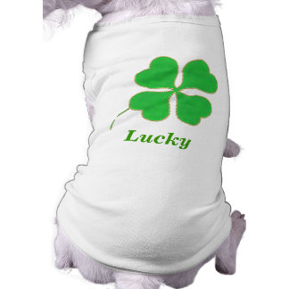 Shamrock, Lucky, name pet shirts template Sleeveless Dog Shirt