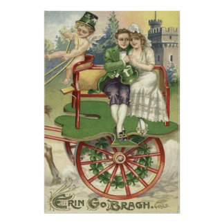 Shamrock Married Couple Horse Carriage Cherub Poster