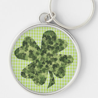 Shamrock Meadow 1 Silver-Colored Round Key Ring