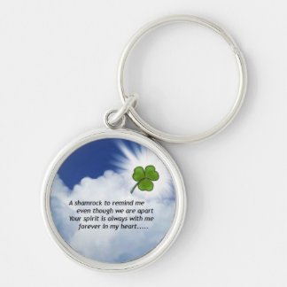 Shamrock Memorial Silver-Colored Round Key Ring
